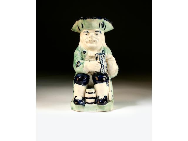 An unusual Staffordshire pearlware 'Woodsman' Toby jug, circa 1790