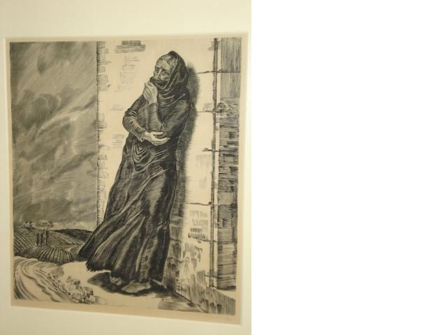 Albert Decaris (French, 1901-1988) Peasant woman huddled by a doorway,