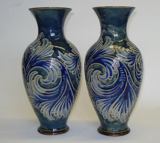 Lambeth A pair of Doulton Lambeth vases, painted by Alice Groom, Circa 1887