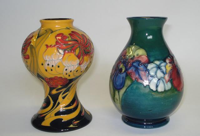A Moorcroft Hibiscus pattern vase
