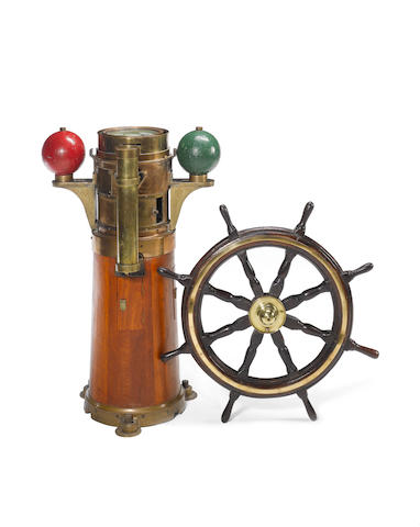A ship's compass and binnacle. 44.5in(113cm)high.