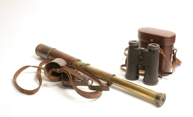 A brass three-draw First World War telescope