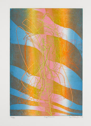Stanley William Hayter (British, 1901-1988) Sagittarius Engraving with soft ground-etching in colours, 1984-5, on BFK Rives, signed, titled, dated and numbered 24/50 in pencil, with full margins, 520 x 346mm (20 1/2 x 13 1/2)(PL); together with 'Wind' (B & M 372), etching with engraving in colours, 1974, on BFK Rives, signed, titled and dated in pencil, an artist's proof, with full margins, 600 x 437mm (23 1/2 x 17in)(PL) (2) unframed