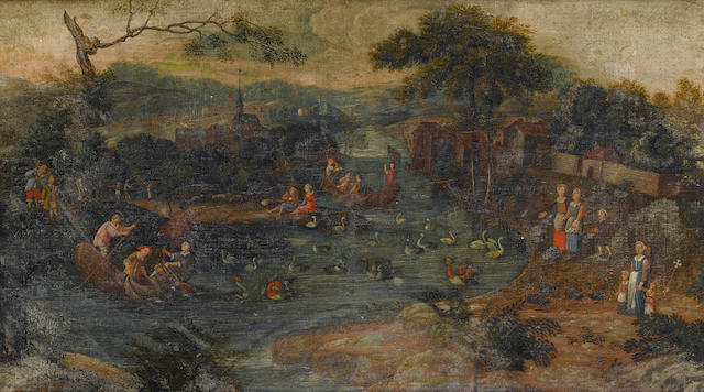 German School, 17th Century  Figures in a river landscape: