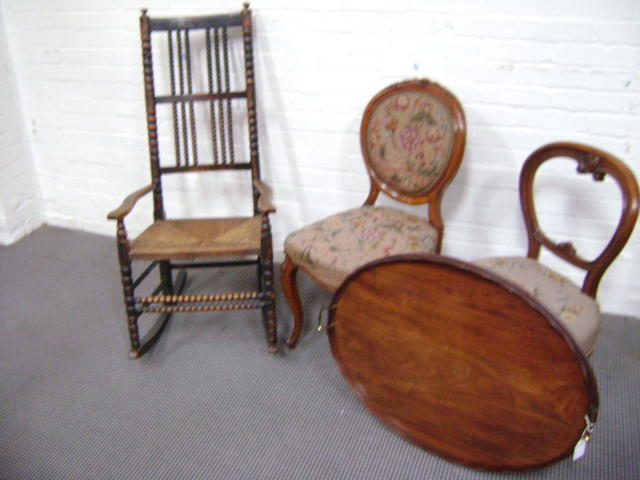 A 19th century rocking armchair