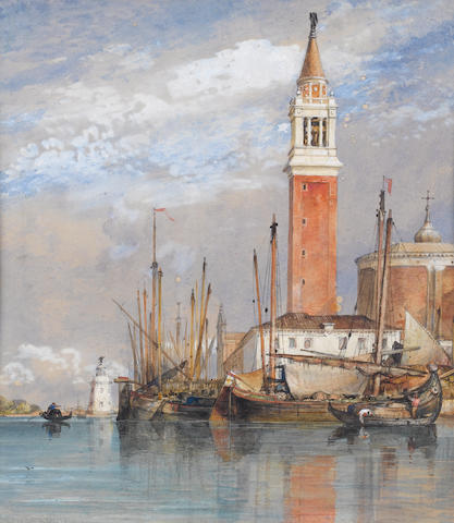 Edward William Cooke, RA (British, 1811-1880) San Giorgio Island with the church of San Giorgio Maggiore looking towards the lagoon