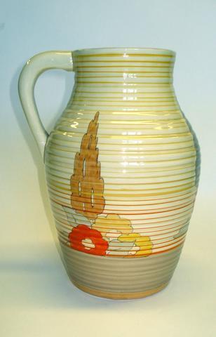A Clarice Cliff Capri pattern lotus jug