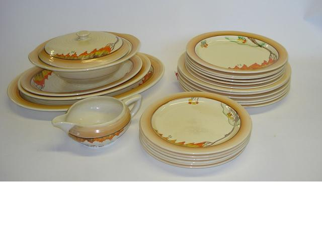 A Clarice Cliff 'Taormina' pattern part dinner service Circa 1930 Circa 1930