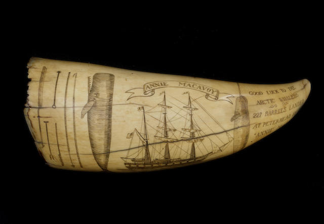 A decorated whale's tooth post 1947, 6.25in (16cm) long
