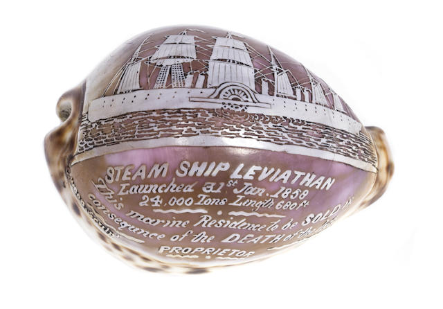 A cowrie shell cameo, signed C. Wood, depicting the SS Leviathan ( SS Great Eastern) 4in (10cm) long