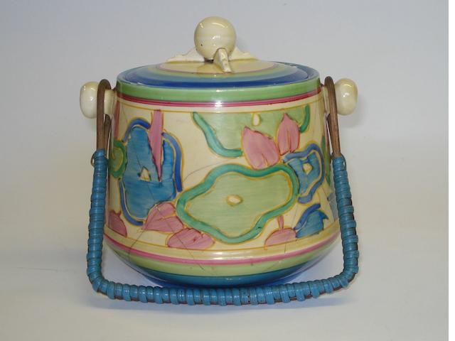 A Clarice Cliff 'Blue Chintz' pattern biscuit barrel Circa 1932