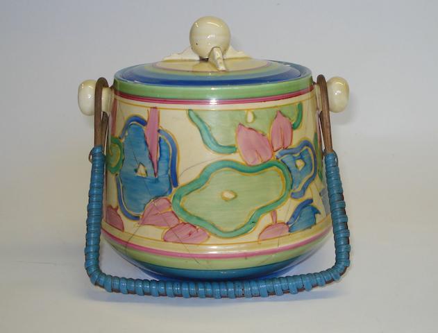 A Clarice Cliff 'Blue Chintz' pattern biscuit barrel Circa 1932