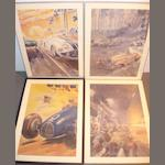 Four reproduction motoring prints after Geo Ham,