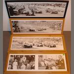 Three panoramic photoprints of 1950s Monaco race-starts,