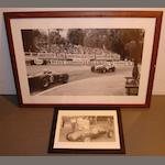 A large monochrome photoprint of a 1950s Monaco racing scene,