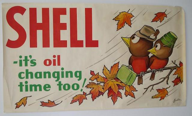 Shell - Its oil changing time too, 1930s advertising poster after August F Beuhler,