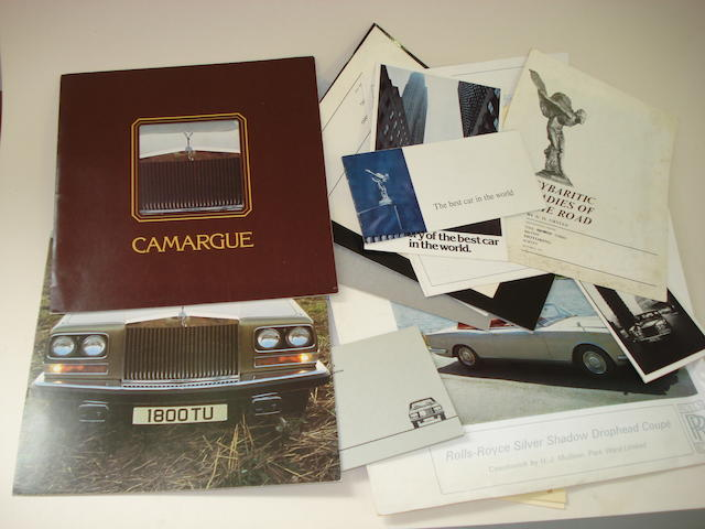 Assorted Rolls-Royce Silver Shadow and Camargue sales brochures and ephemera,