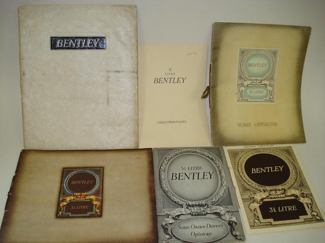 Bentley 3½ litre sales catalogues and ephemera,