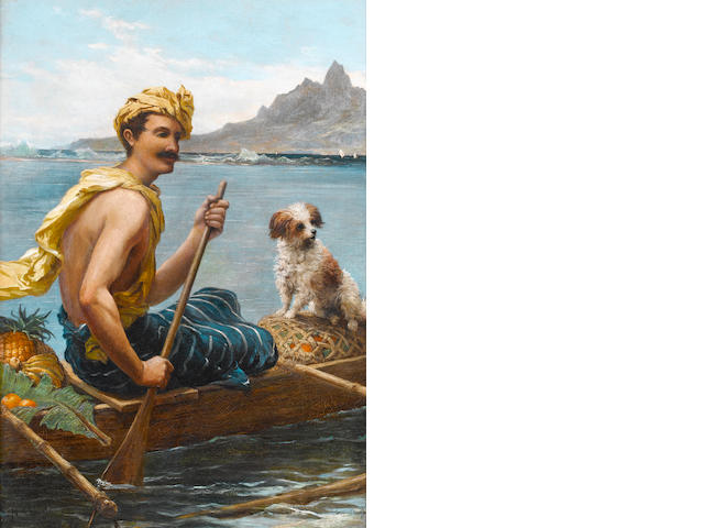 Nicholas Chevalier (British, 1828-1902) Man in a canoe, Tahiti