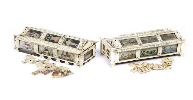 A pair of French Prisoner of War bone gaming caskets,  9x4.5x2.5in(23x11.5x6.5cm)each. 2