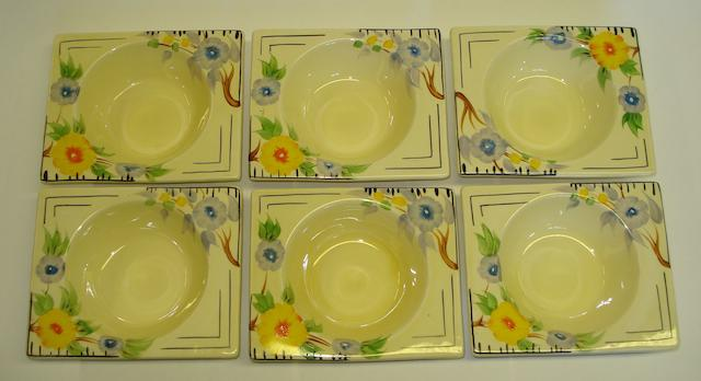 A Clarice Cliff Biarritz six piece fruit set