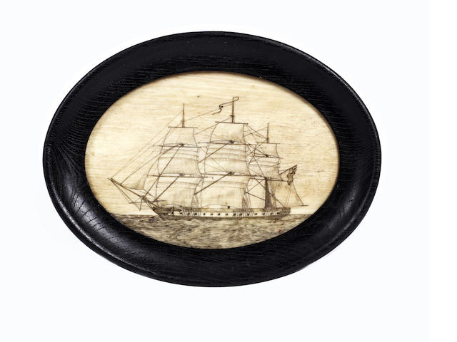 A scrimshaw decorated oval pan bone. 6x4.5in(15x11.5cm)