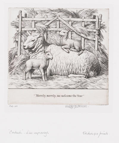 "Stanley Anderson (British, 1884-1966) Merrily, Merrily, we welcome the Year Engraving, on heavy wove, signed in pencil, from an edition of 40; 125 x 130mm (4 7/8 x 5 1/8in)(PL). Together with ""The Wheelwright"", ""The Wayfarer"" and ""The Basket-maker"", each signed in pencil.  4 unframed"