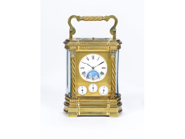 A gilt brass petit sonnerie carriage clock with moonphase, repeat and alarm Hamilton and Co, Calcutta