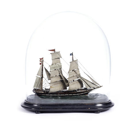 A diorama waterline model of the Barque Lizzie.