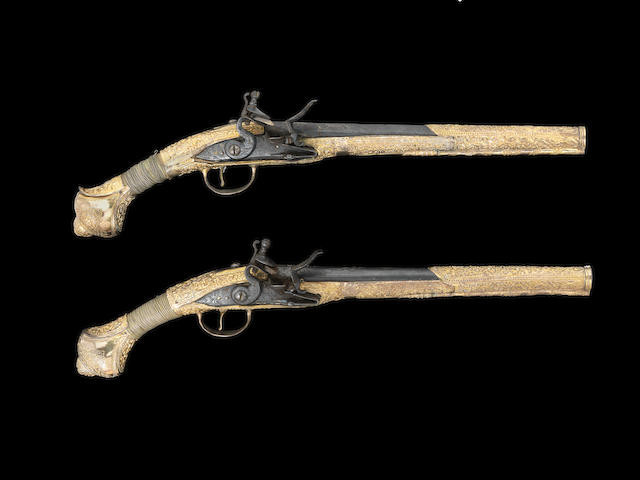 A pair of silver-gilt flintlock Pistols Provincial Ottoman, late 18th Century(2)