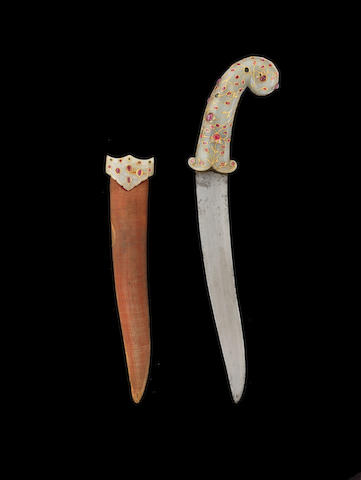 A Mughal ruby and diamond set jade hilted Dagger