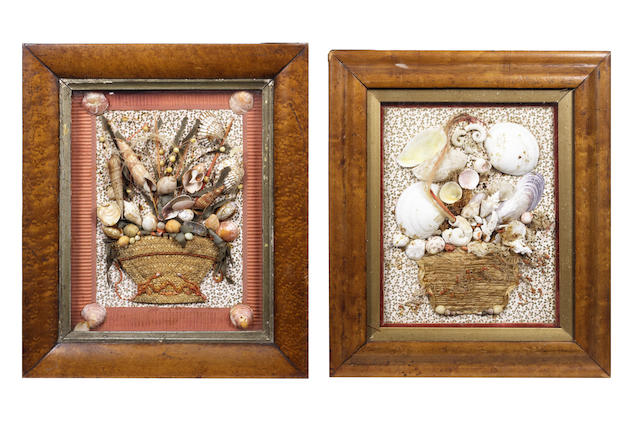 A pair of shellwork pictures, mid 19th century, 12.5x10.5in(32x27cm) 2
