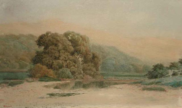 Peter Ghent (British, 1856-1911) Landscape in the Lake District 22cm x 33cm.