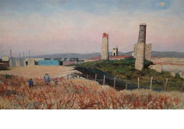 Christopher Compton Hall (British, born 1930) Wheal Basset Stamp Works 22cm x 35cm.