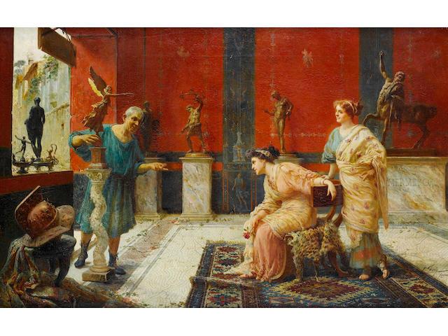 Ettore Forti (Italian, active 1880-1920) Il mercante di tappeti; il mercante d'arte