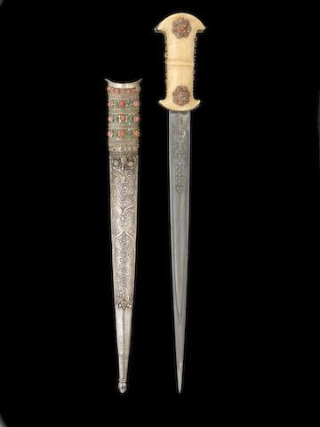 An Ottoman coral-set walrus ivory-hilted steel Dagger Turkey, 19th Century(2)