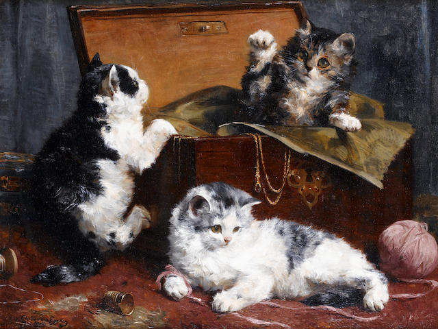 Charles H. van den Eycken (Belgian, 1859-1923) Kittens at play