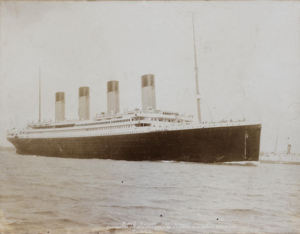 "F.G.O.Stuart (1843-1923) RMS Titanic at Southampton, original sepia tone photograph, neg.no. 11091. Sub-titled ""Foundered in Mid-Atlantic by collision with an iceberg April 15th 1912, Stuart Copyright"". Mounted on pasteboard. 8.3x10.6in(21x27cm)"