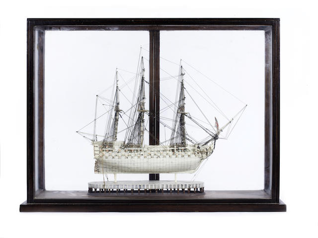 Bone prisoner of war 3 masted ship, in glass display case, - for written insurance valuation