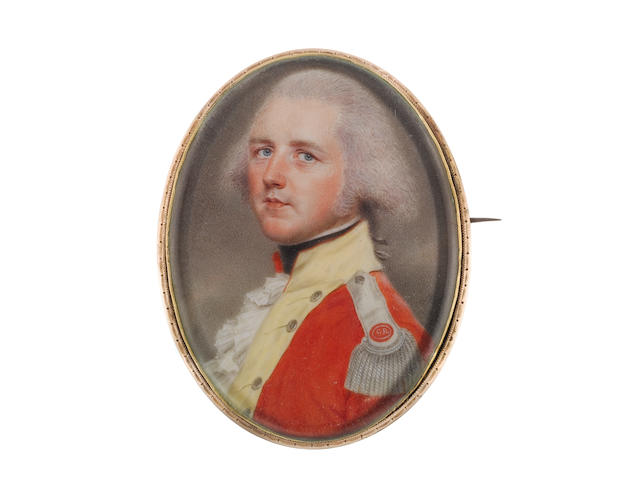 John Smart (British, 1742-1811) An Officer, wearing red coatee with yellow facings, silver epaulette embroidered with red badge bearing initials GR, white frilled chemise, black stock, his powdered hair worn en queue and tied with a grey ribbon bow