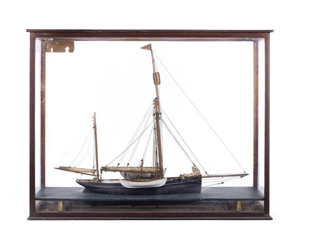 A model of the Arctic yacht Kara 1882. 32x25x11in(82x63x28cm)