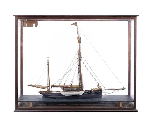 A model of the Arctic yacht Kara 1882. 32x25x11in(82x63x28cm)