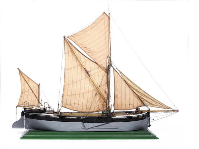 A model of the Thames Barge Pandora of Maldon. 40x11x32in(102x28x81cm)