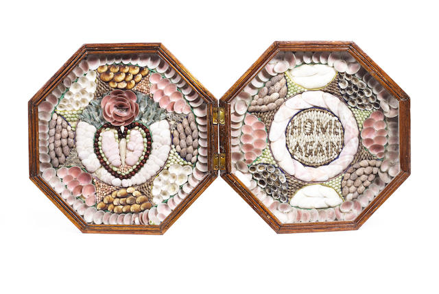 A double sailor's shell valentine. 8.5x8.5x2.5in (21x21x6.5cm) closed