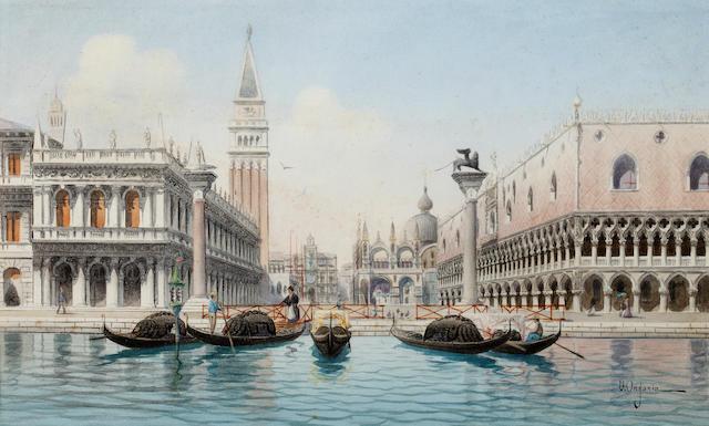 Umberto Ongania (Italian) The Piazzetta, San Marco, Venice