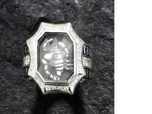 "Of Iggy Pop interest: A quartz, diamond and white sapphire ""hidden"" scorpion design ring, by TryGOD, Japan"