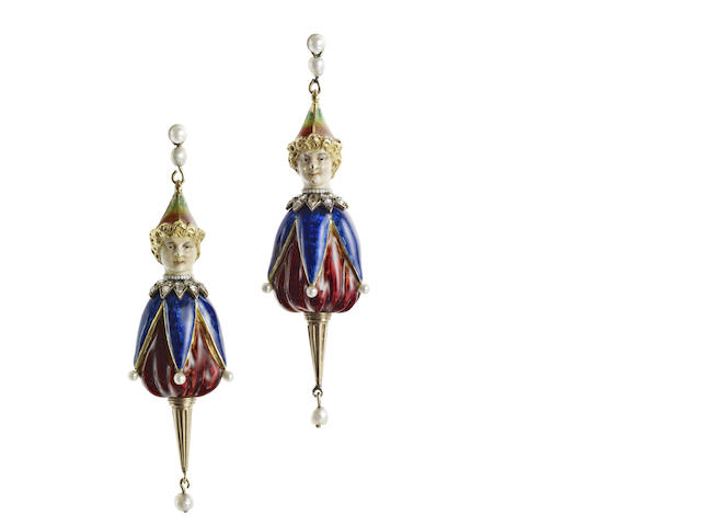 A pair of late 19th century puppet design earrings, possibly French