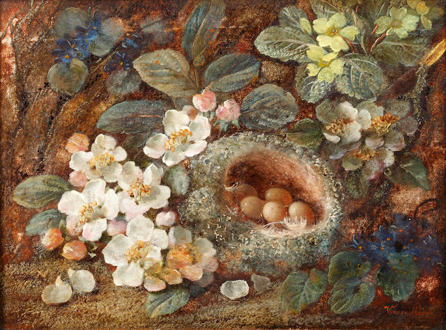 Vincent Clare (British, 1855-1930) Still life with a bird's nest, apple blossom and primroses on a m
