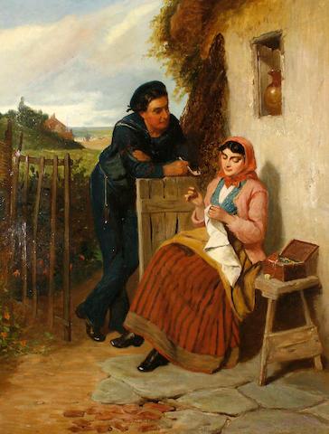 Circle of Edward Charles Barnes (British, circa 1830-1882) 'The Rural Courtship'