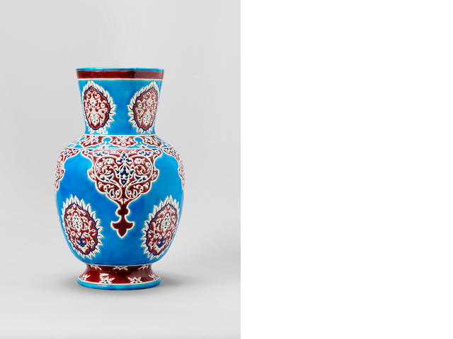 An Iznik style pottery Vase by Vieillard Bordeaux, 19th Century